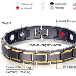 Pulseira magnética anti stress e dor – unissex prata detalhe em dourado